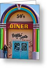 Entrance Peggy Sues 1950s Diner Yermo California Greeting Card by Robert Ford