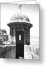 Entrance To Sentry Tower Castillo San Felipe Del Morro Fortress San Juan Puerto Rico Bw Film Grain Greeting Card by Shawn O'Brien