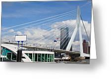 Erasmus Bridge in Rotterdam City Downtown Greeting Card by Artur Bogacki