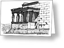 Erechtheion Caryatids Greeting Card by Calvin Durham