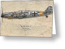 Erich Hartmann Messerschmitt Bf-109 - Map Background Greeting Card by Craig Tinder