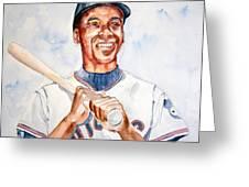 Ernie Banks Greeting Card by Brian Degnon