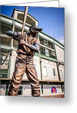 Ernie Banks Statue At Wrigley Field  Greeting Card by Paul Velgos