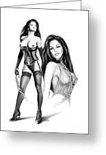 Erotic Lesbian Pet By Spano Greeting Card by Michael Spano