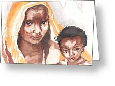 Ethiopean Mother And Child Greeting Card by Nancy Watson