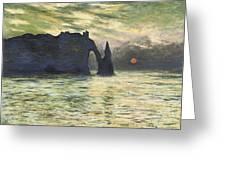 Etretat Sunset Greeting Card by Claude Monet