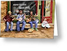 Eureka Springs Novelty Shop String Quartet Greeting Card by Sam Sidders
