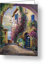 European Town Scene By The Ocean Greeting Card by Gina Femrite