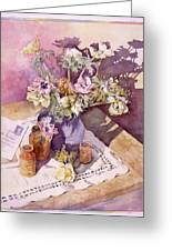 Evening Anemones Greeting Card by Julia Rowntree