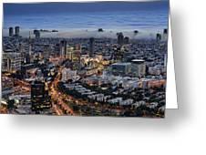 Evening City Lights Greeting Card by Ron Shoshani