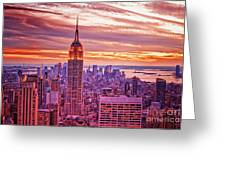 Evening In New York City Greeting Card by Sabine Jacobs