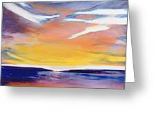 Evening Seascape Greeting Card by Lou Gibbs