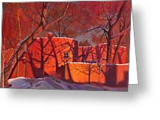 Evening Shadows On A Round Taos House Greeting Card by Art James West