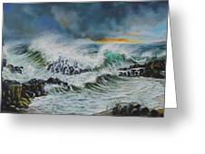 Evening Surf At Castlerock Greeting Card by Barry Williamson
