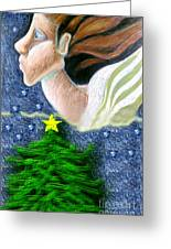 Everseeing Christmas Angel Greeting Card by Genevieve Esson