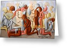 Every Knee Shall Bend Every Mouth Shall Confess Jesus Is Lord Greeting Card by Anthony Falbo