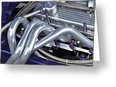 Exhaust Manifold Hot Rod Engine Bay Greeting Card by Allen Beatty