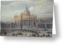 Exterior Of St Peters In Rome From The Piazza Greeting Card by Louis Haghe