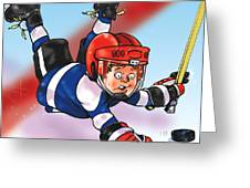 Eye On The Puck Greeting Card by Derrick Higgins