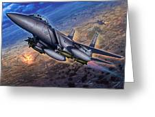 F-15e Strike Eagle Scud Busting Greeting Card by Stu Shepherd