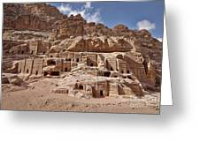 facade street in Nabataean ancient town Petra Greeting Card by Juergen Ritterbach