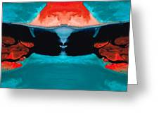Face To Face - Abstract Art By Sharon Cummings Greeting Card by Sharon Cummings