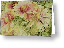 Faded Love Abstract Floral Art Greeting Card by Ann Powell