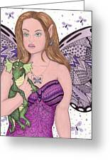 Fairy And Her New Friend -- The Baby Dragon Greeting Card by Sherry Goeben