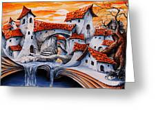 Fairy Tale City - Magic Stream Greeting Card by Emerico Imre Toth