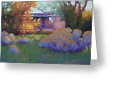 Fall Afternoon in Taos NM Greeting Card by Sarah Blumenschein