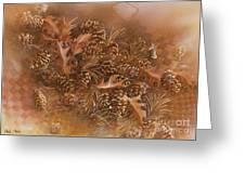 Fall Pinecones Greeting Card by Paula Marsh