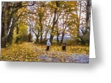 Fall Stroll Greeting Card by Barry Jones