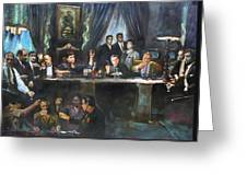 Fallen Last Supper Bad Guys Greeting Card by Ylli Haruni