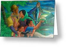 Family Bonding In Bicol Greeting Card by Manuel Cadag