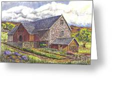 A Scottish Farm Pen Ink Wc Greeting Card by Carol Wisniewski
