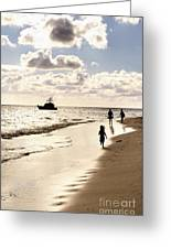 Family On Sunset Beach Greeting Card by Elena Elisseeva