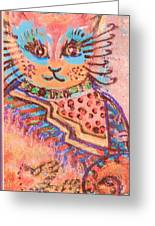 Fancy Cat Greeting Card by Anne-Elizabeth Whiteway
