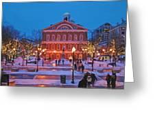 Faneuil Hall Holiday- Boston Greeting Card by Joann Vitali