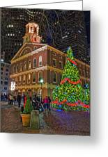 Faneuil Hall Night Greeting Card by Joann Vitali