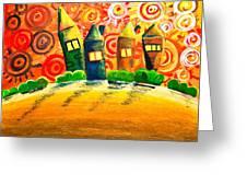 Fantasy Art - The Village Festival Greeting Card by Nirdesha Munasinghe