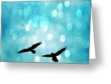 Fantasy Surreal Ravens Flying - Aquamarine Blue Bokeh Sparkling Lights Greeting Card by Kathy Fornal
