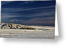 Farm At Bottom Of Hill In Winter Greeting Card by Roberta Murray