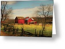 Farm - Barn - Just Up The Path Greeting Card by Mike Savad