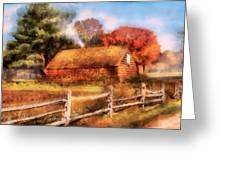 Farm - Barn - Our Cabin Greeting Card by Mike Savad
