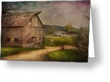 Farm - Barn - The Old Gray Barn Greeting Card by Mike Savad