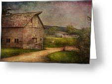 Farm - Barn - The Old Gray Barn  Greeting Card by Mike Savad