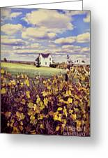 Farmhouse And Grapevines Greeting Card by Jill Battaglia