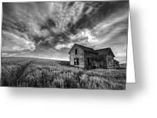 Farmhouse B And W Greeting Card by Latah Trail Foundation