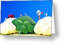 Farming On Broccoli And Cauliflower Greeting Card by Paul Ge