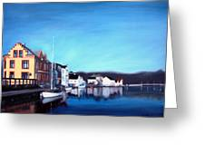 Farsund Dock Scene I Greeting Card by Janet King